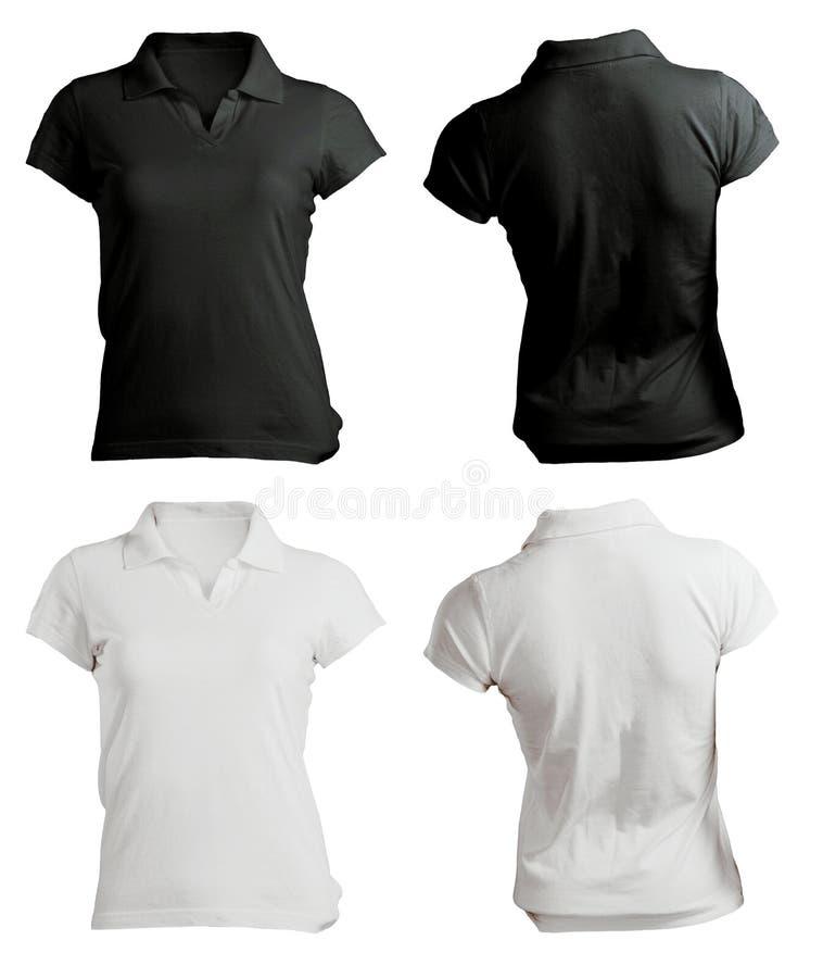 Polo Shirt Template noir et blanc vide des femmes images libres de droits