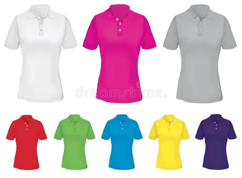 Polo Shirt Template para a mulher em muitos colore ilustração stock