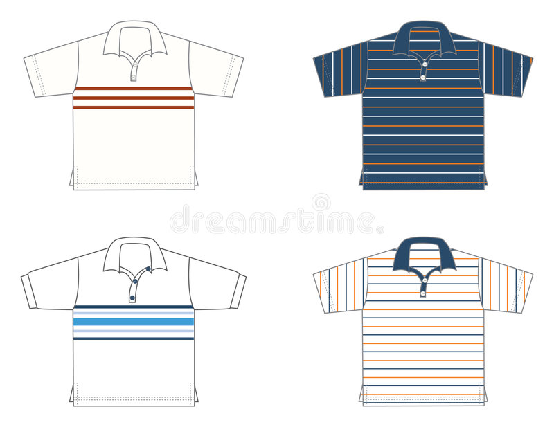 Polo-shirts, different models and colours. Four polo-shirts, different models and colours stock illustration