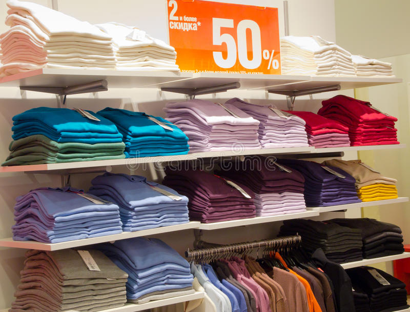 Polo shirts in the store stock images