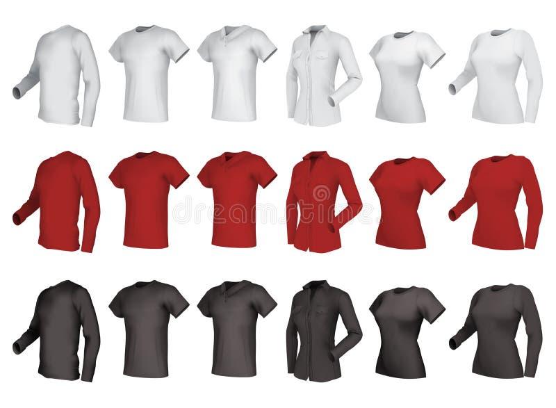 Polo-, skjorta- och t-skjortor uppsättning royaltyfri illustrationer