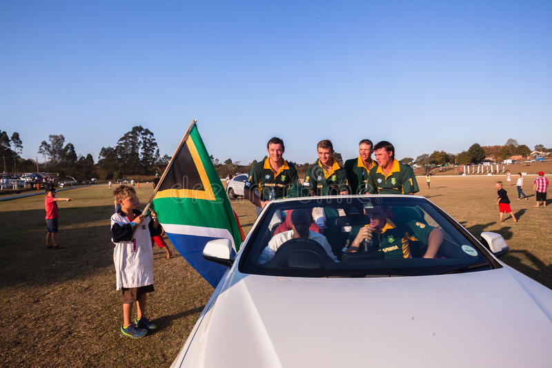 Polo South Africa Players Sponsor bil Shongweni Hillcrest arkivbilder