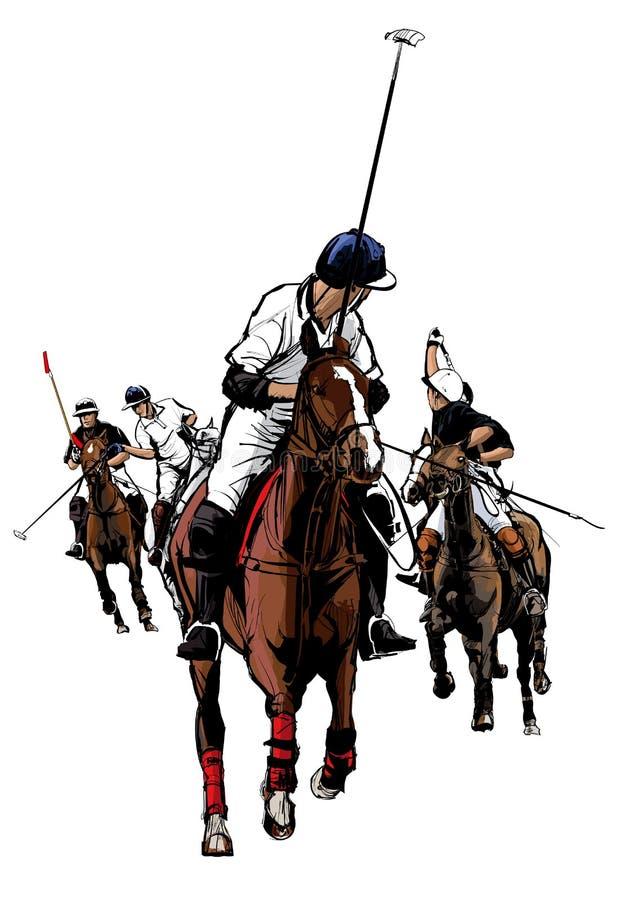 Polo Sport Player a cavalo ilustração stock