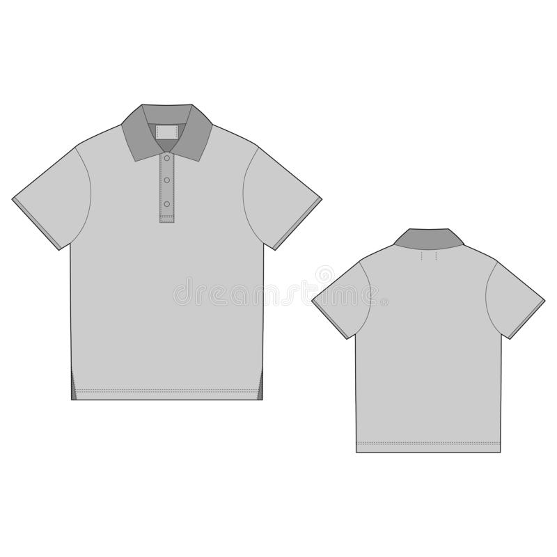 Polo t-shirt design template. Front and back. Technical sketch unisex t shirt stock illustration