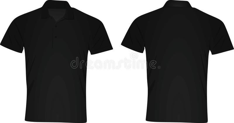 black polo shirt front and back