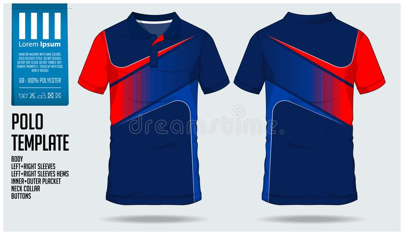 Polo t shirt sport design template for soccer jersey, football kit or sport club. Sport uniform in front view and back view. royalty free illustration