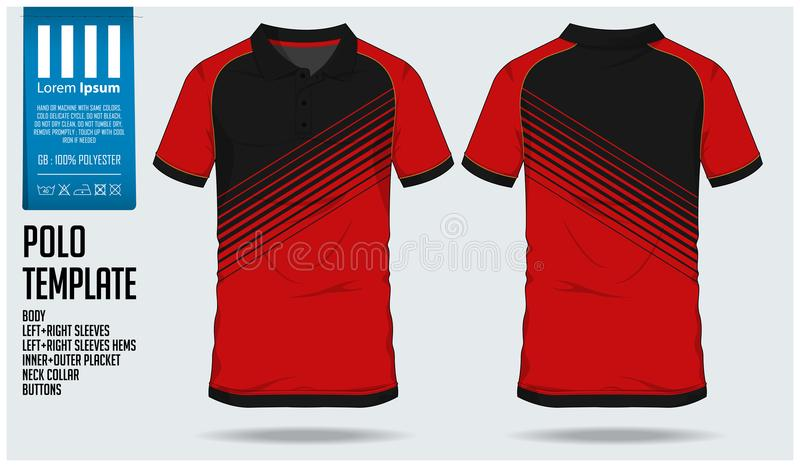 Polo t shirt sport design template for soccer jersey, football kit or sport club. Sport uniform in front view and back view. vector illustration