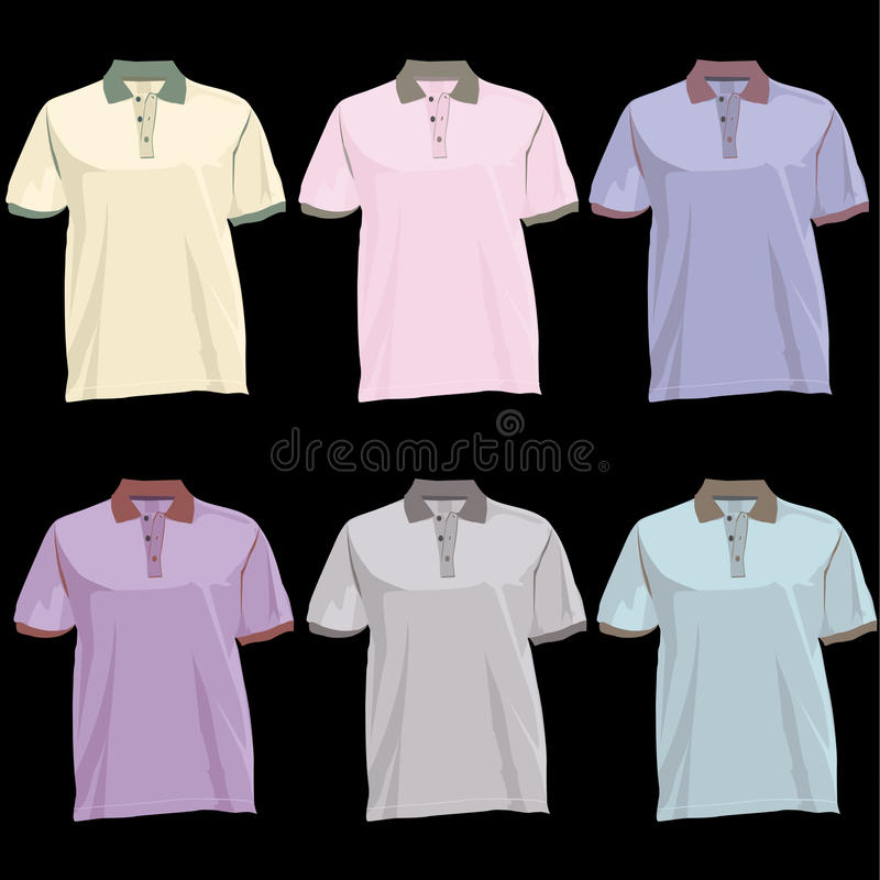 polo t shirt template with collar front and back stock