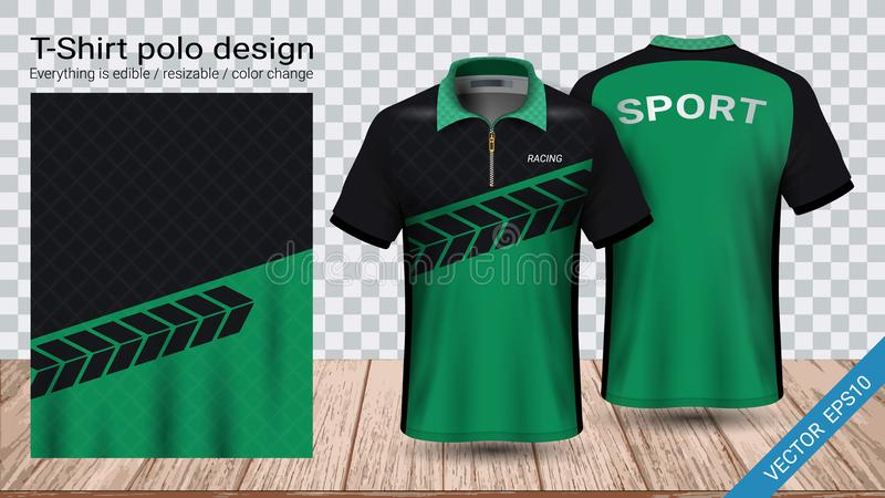 Polo t-shirt with zipper, Soccer jersey sport mockup template for football kit or activewear uniform. For your team, school, company, or any occasion vector illustration