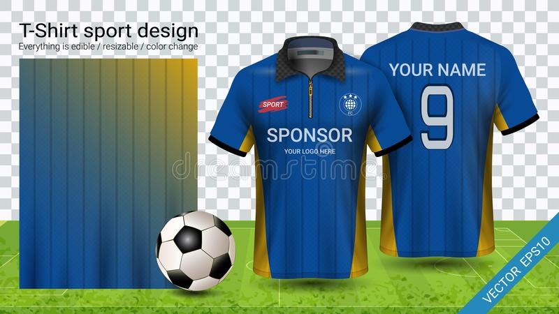 Polo t-shirt with zipper, Soccer jersey sport mockup template for football kit or activewear uniform. For your team, school, company, or any occasion royalty free illustration