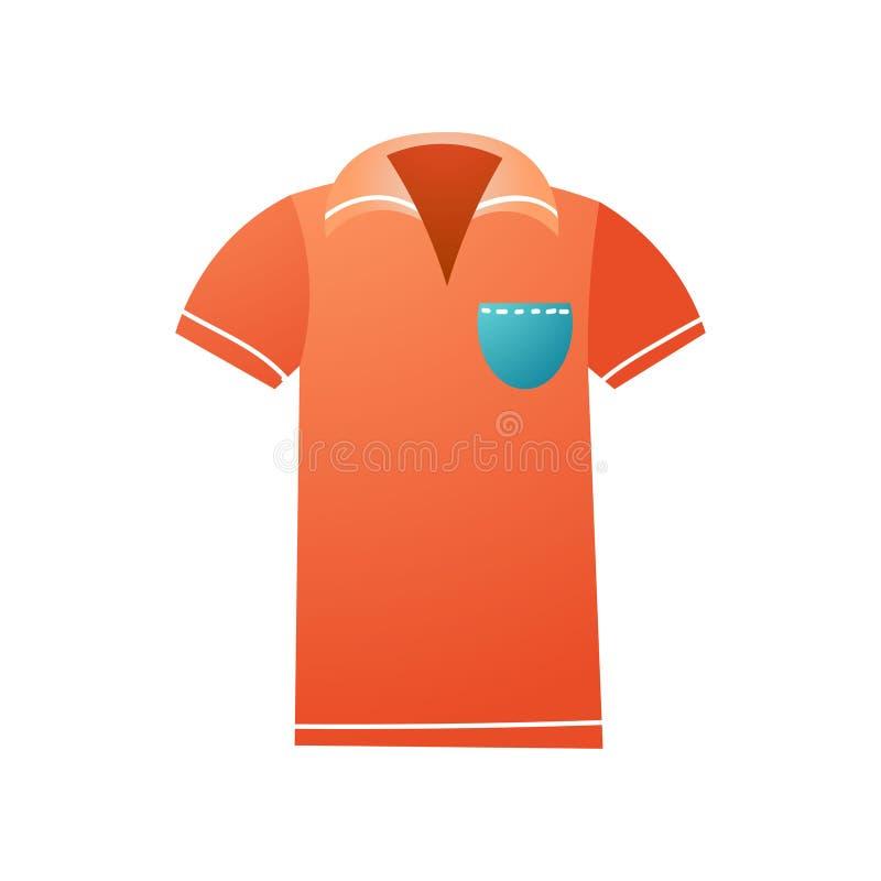 Polo vermelho com o bolso azul para o jogo do golfe ilustração do vetor
