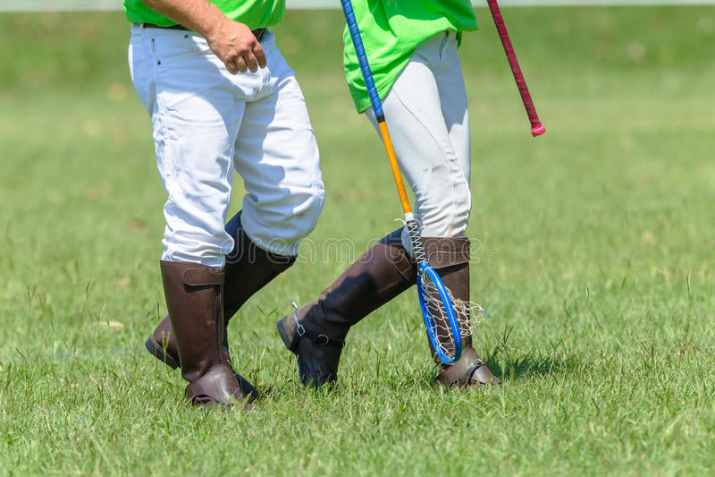 Polocrosse spelareCloseup som går kängaracket arkivfoto