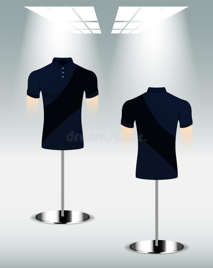 Polohemd-Entwurfsrückseite und Front, dunkelblaue Farbe vektor abbildung
