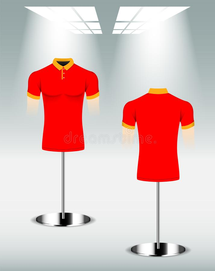 Polohemd-Entwurfsrückseite und Front, rote gelbe Farbe stock abbildung