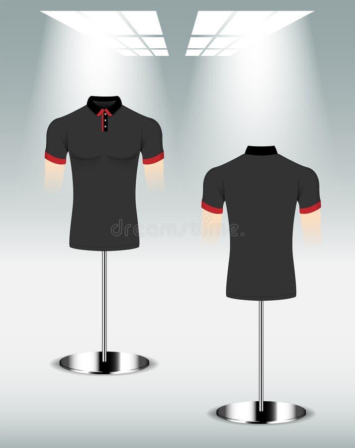 Polohemd-Entwurfsrückseite und Front, schwarze rote Farbe stock abbildung