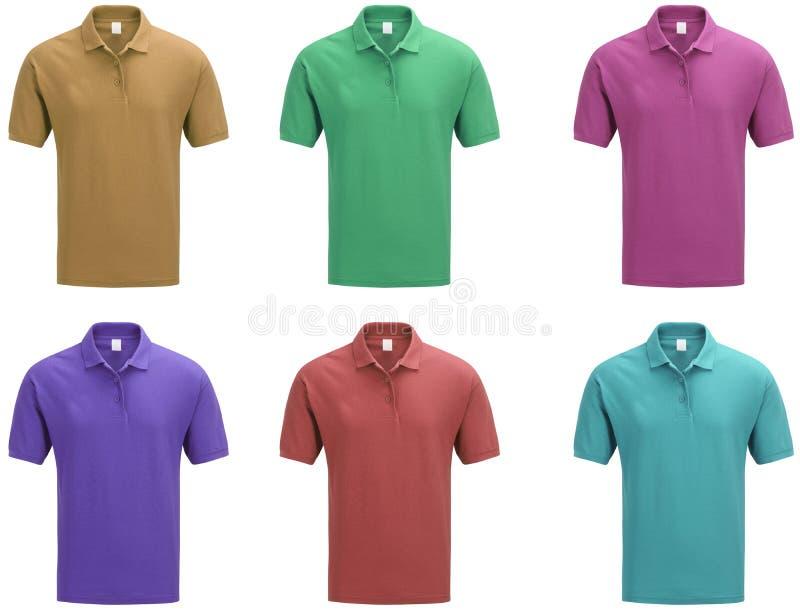 Polohemdschablone der Männer in den Farben stockfoto