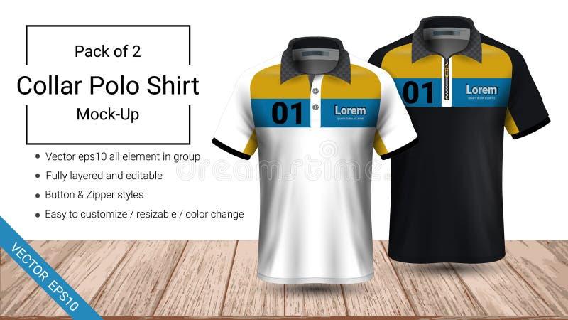 Polokragen-T-Shirt Schablone, Datei des Vektors eps10 völlig überlagert und editable vorbereitet, um das Kundenspezifisch anferti lizenzfreie abbildung