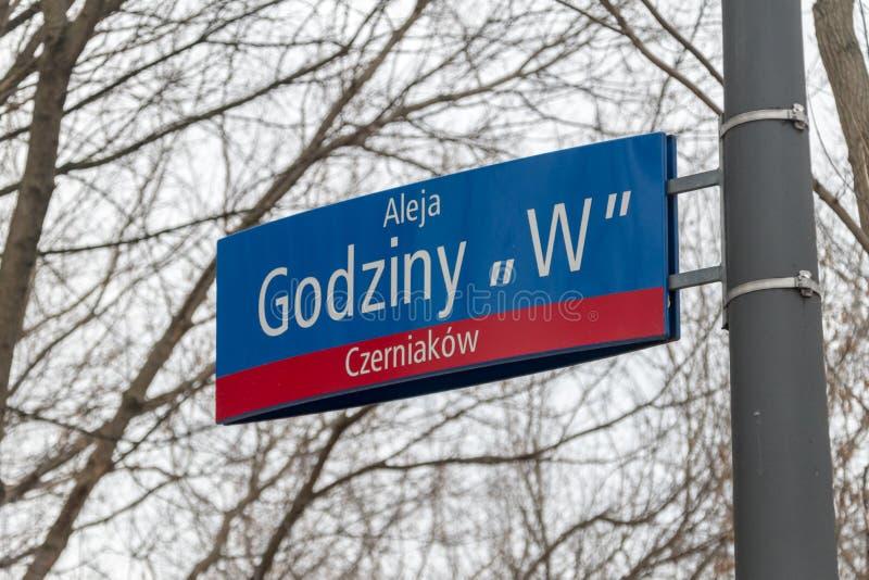 Polonês da hora de W: Sinal de Godziny W no monte da insurreição de Varsóvia foto de stock royalty free