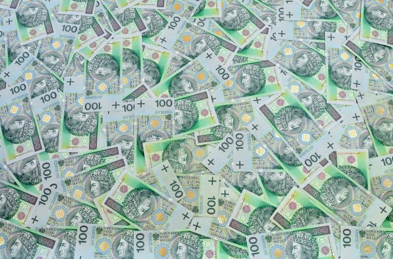 Polonês fundo de 100 notas de banco do zloty foto de stock