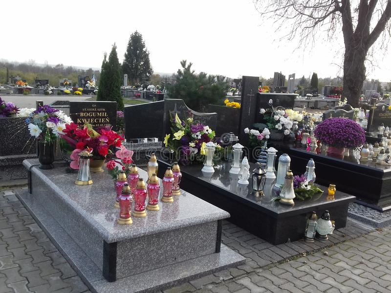 Polonesas de Tombes - Cimetière de Sandomierz foto de archivo