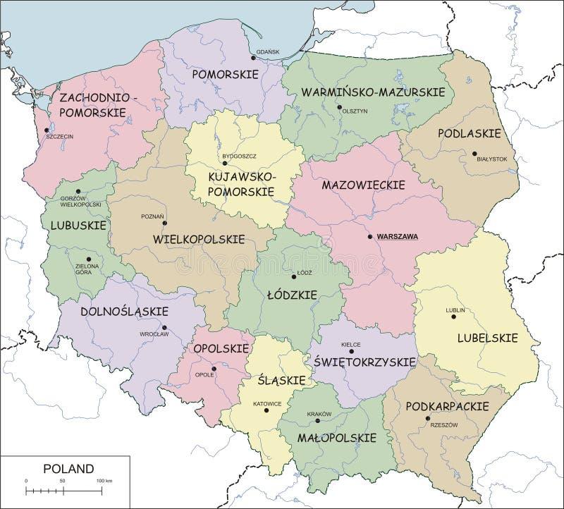 Polonia - correspondencia de contorno con voivodeships y los ríos ilustración del vector