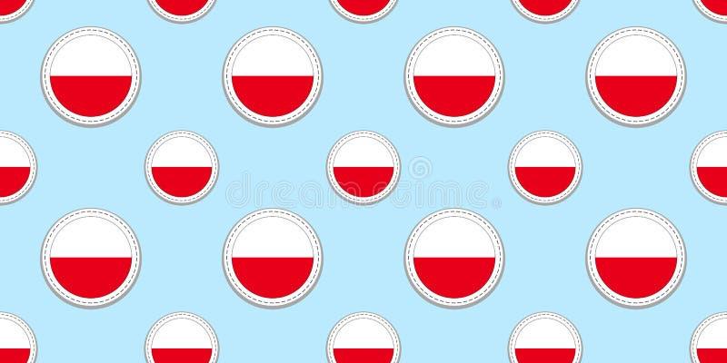 Polonia, modelo inconsútil de la bandera redonda Polaco, fondo Iconos del círculo del vector Símbolos geométricos Texturice para  libre illustration