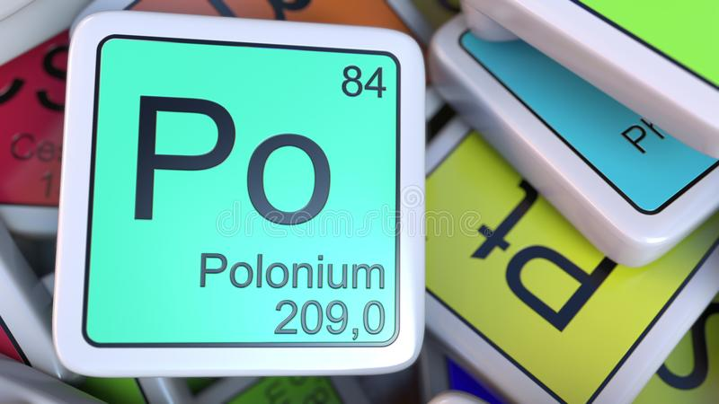 Polonium Po block on the pile of periodic table of the chemical elements blocks. 3D rendering stock illustration
