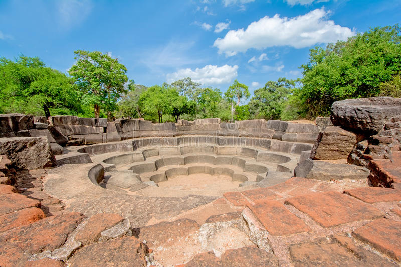 Polonnaruwa古老石荷花池 免版税库存图片