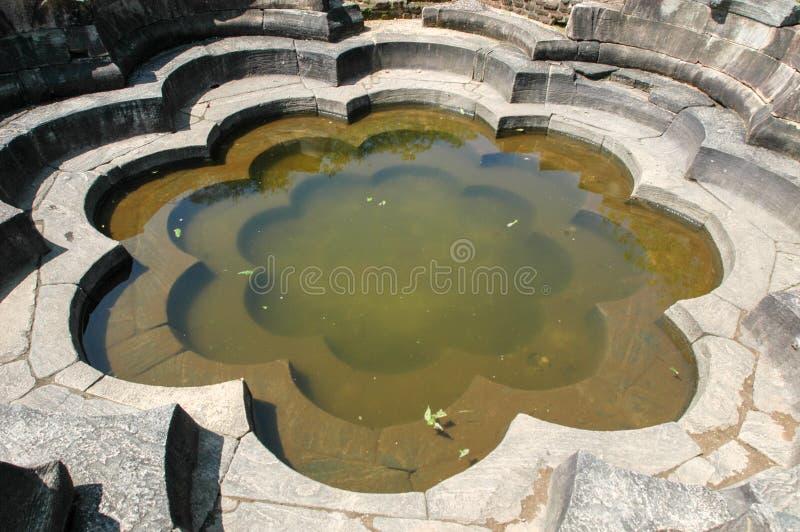 Polonnaruwa废墟联合国科教文组织世界遗产荷花池水池  库存照片