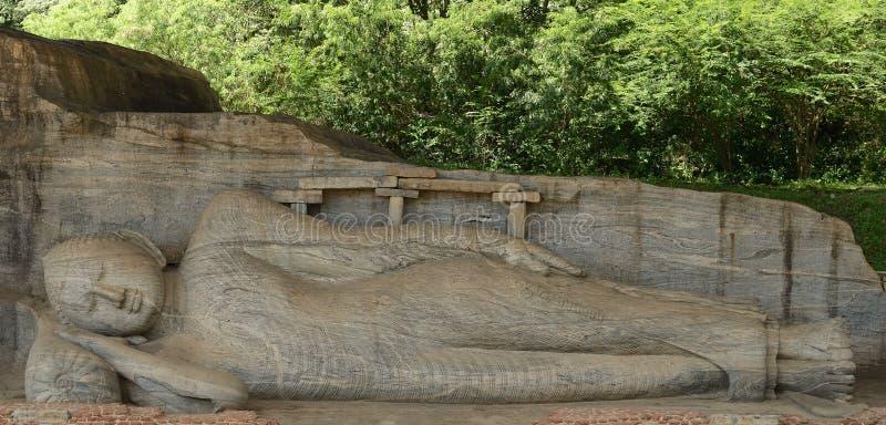 Polonnaruwa废墟,在Gal Vihara,斯里兰卡的菩萨雕塑 图库摄影