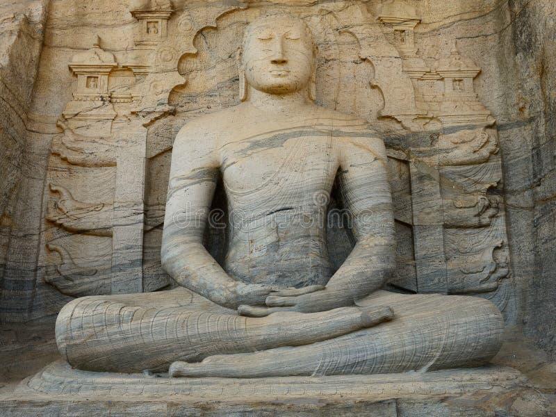 Polonnaruwa废墟,在Gal Vihara,斯里兰卡的菩萨雕塑 库存照片