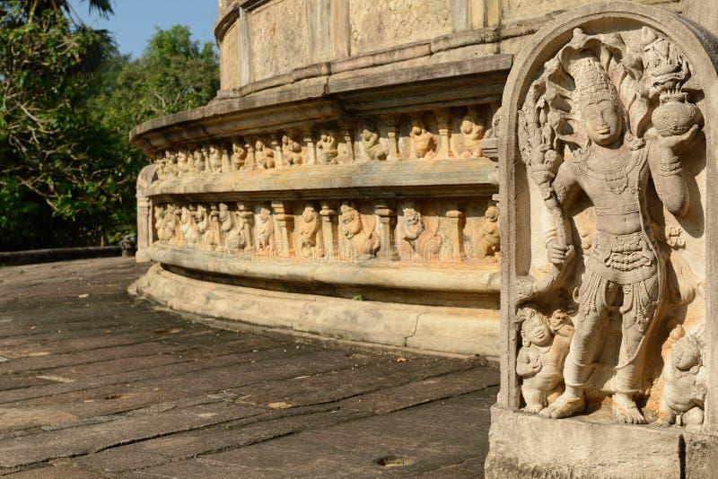 Polonnaruwa废墟, Vatadage (圆的议院),斯里兰卡 免版税库存图片