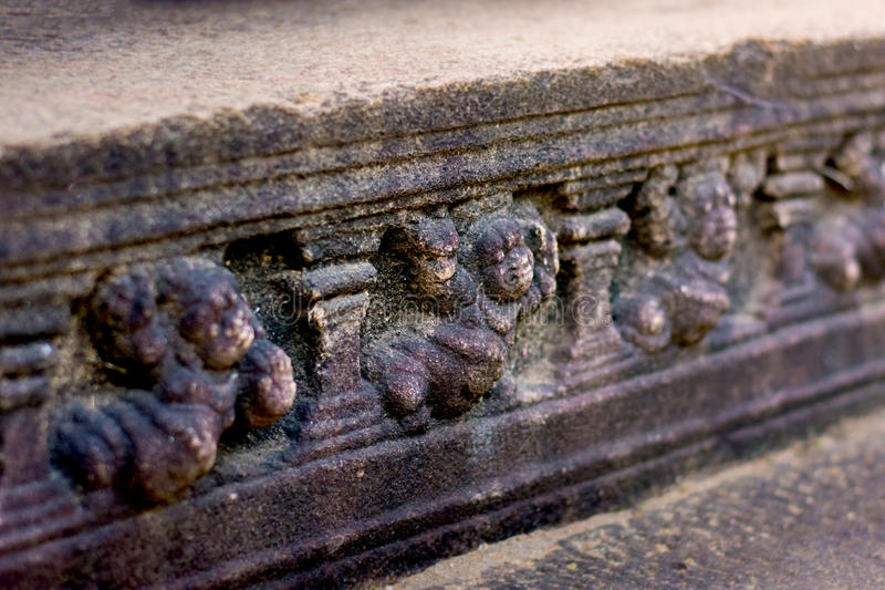 Polonnaruwa ancient stone wall decorations of Buddhist Temples. Polonnaruwa Is The Second Most Ancient Of Sri Lankas Kingdoms royalty free stock images