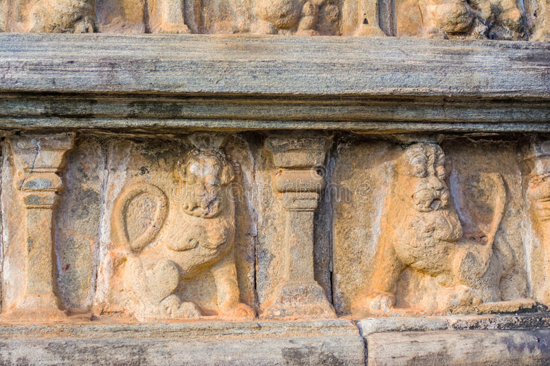 Polonnaruwa ancient stone wall decorations of Buddhist Temples. Polonnaruwa Is The Second Most Ancient Of Sri Lankas Kingdoms stock image