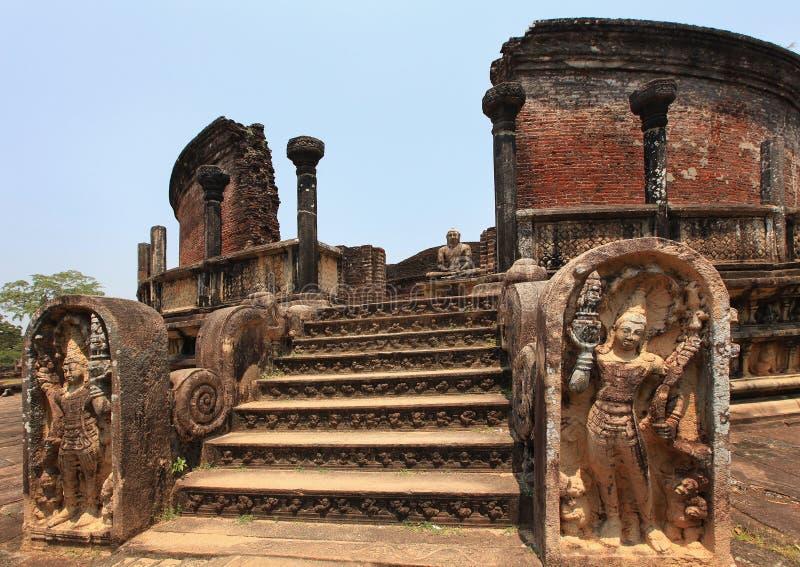 Polonnaruwa, Architekturskulpturen, alte Ruine, in Sri Lanka stockfotografie