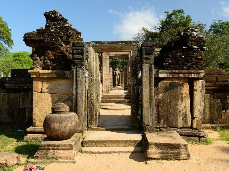Polonnaruwa fördärvar, Vatadage (det runda huset), Sri Lanka royaltyfri foto