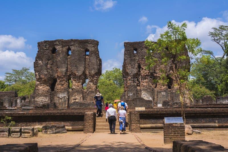 Polonnaruwa forntida stad Royal Palace Sri Lanka arkivbilder