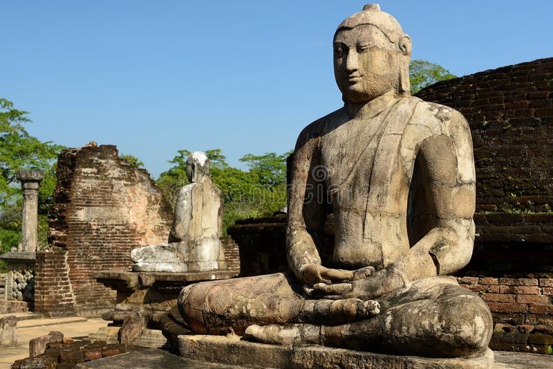 Polonnaruwaruïne, Vatadage (Rond Huis), Sri Lanka stock afbeelding