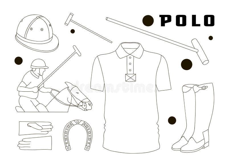 Poloobjekt, sportlikformig stock illustrationer