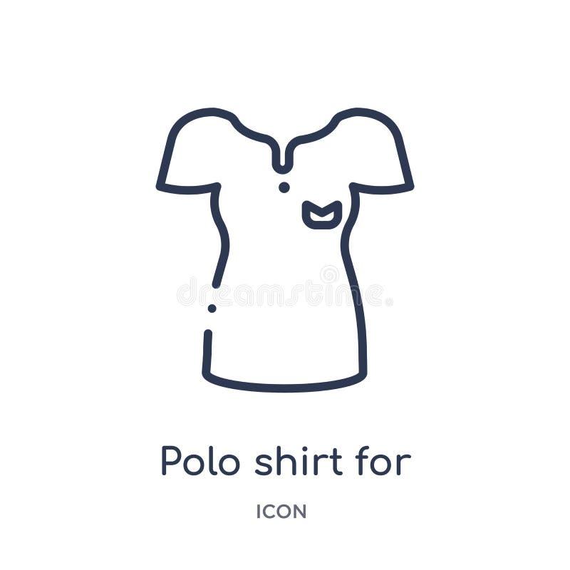 polooverhemd voor vrouwen? pictogram van het overzichtsinzameling van de vrouwenkleding Het dunne overhemd van het lijnpolo voor  royalty-vrije illustratie