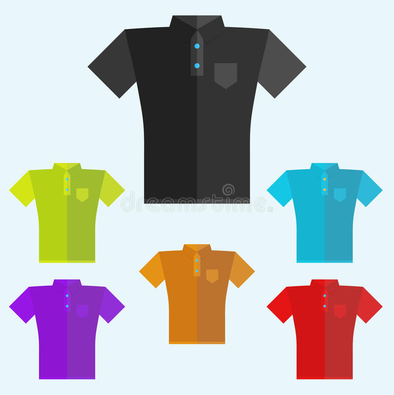 Polooverhemden gekleurde malplaatjes voor uw ontwerp in vlakke stijl stock illustratie