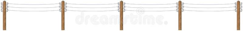 Polos de madera eléctricos con los alambres stock de ilustración