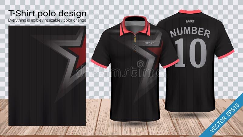 Polot-shirt met ritssluiting, het malplaatje van het de sportmodel van Voetbaljersey voor voetbaluitrusting of activewear eenvorm royalty-vrije illustratie