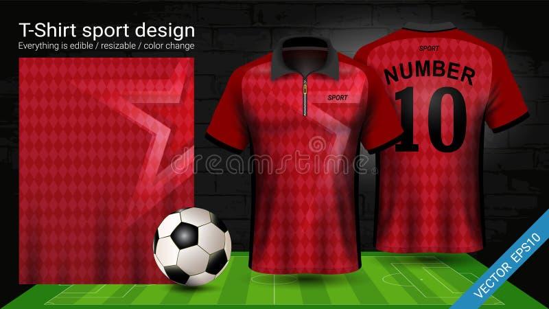 Polot-shirt mit Reißverschluss-, Fußballtrikotsportmodellschablone für Fußballausrüstung oder Activewearuniform stock abbildung