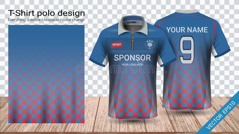 Polot-shirt mit Reißverschluss-, Fußballtrikotsportmodellschablone für Fußballausrüstung oder Activewearuniform lizenzfreie abbildung