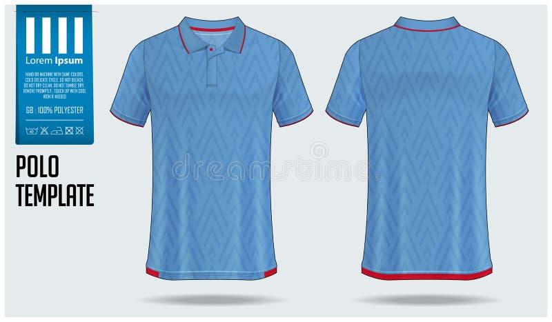Polot-shirt Schablonenentwurf für Fußballtrikot, Fußballausrüstung oder Sportkleidung Tragen Sie Uniform in der Vorderansicht und lizenzfreie abbildung