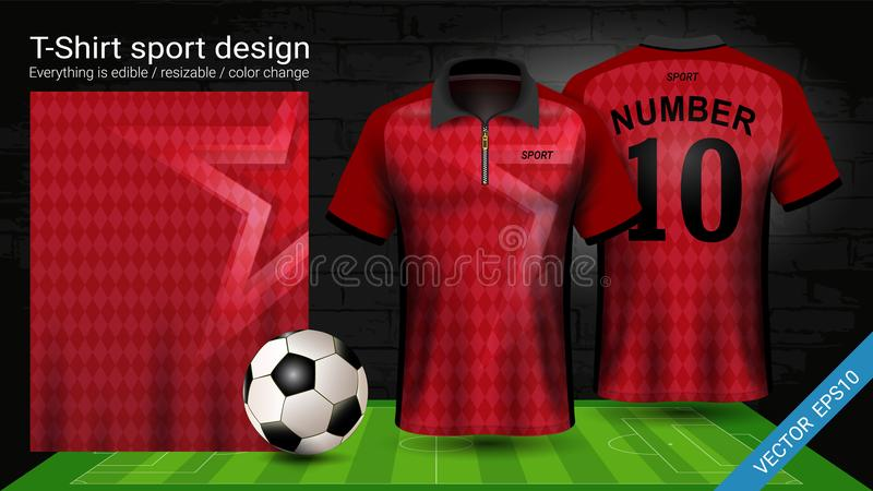 Polot-skjorta med mallen för blixtlås-, för fotbollärmlös tröja sportmodell för fotbollsats eller activewearlikformign stock illustrationer
