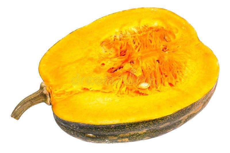 Polpa de Butternut com sementes, corte ao meio em um fundo branco imagem de stock