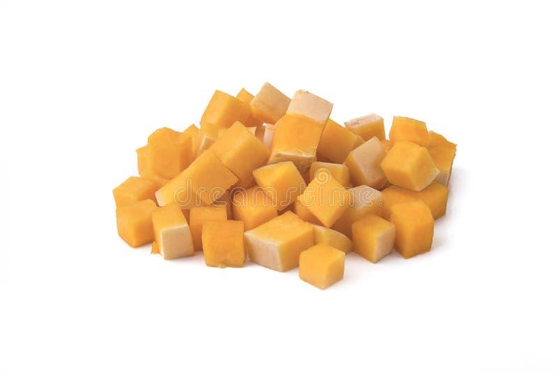 Polpa de butternut fresca isolada em um branco fotos de stock royalty free