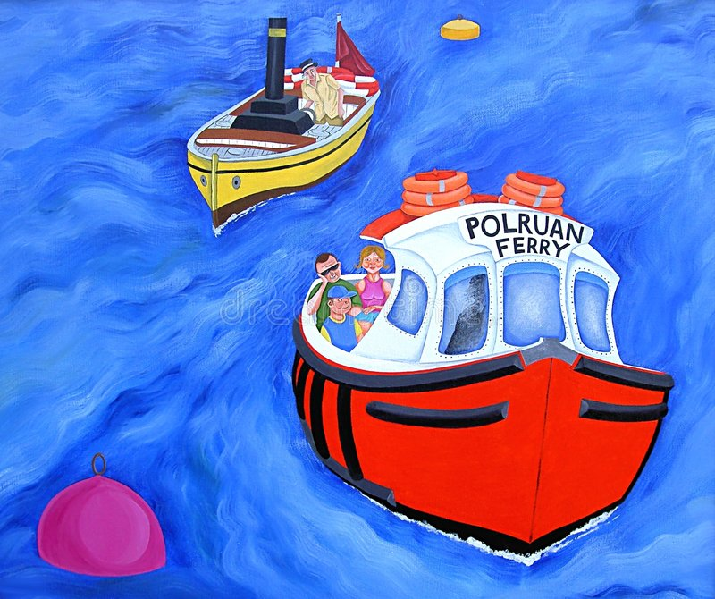 Download Polruan Ferry stock illustration. Image of family, paintings - 59278